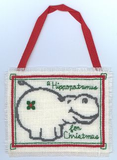 Cross Stitch Christmas Ornament - A Hippopotamus for Christmas