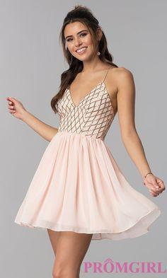 fc8e4ee8dd Short Sequin-Bodice V-Neck Party Dress in Rose Gold