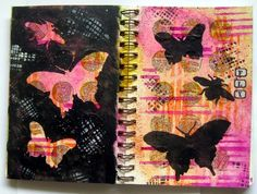 Opposites attract art journal spread