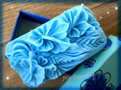 Hand carved soap blue hibiscus flower blue carved by ABCarving