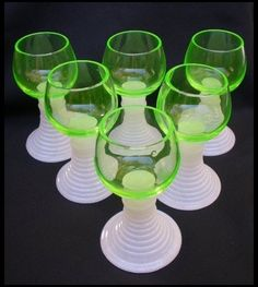 Six German Florescent Green Roemer Wine Goblets by Yesterdays a Ruby Lane Shop