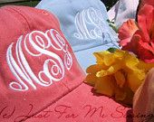 Monogrammed Baseball Cap. $18.99, via Etsy. So getting one right now