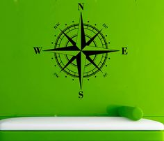Compass Rose Vinyl Sticker Compass Wall Decal by AndreadecalS.   $23.99. On etsy.  More colors avail