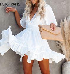 Classy White Dress, White Ruffle Dress, White Summer Dresses, White Dresses For Women, Mini Dresses, Dress Summer, Pixie, White V Necks, The Dress