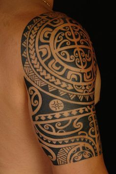 polynesian marquesan tribal tattoo half sleeve 3