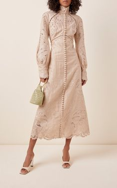 Button-Embellished Embroidered Midi Dress by Zimmermann Modest Fashion, Fashion Dresses, Beautiful Dresses, Nice Dresses, Semi Formal Dresses, Frack, Dresses For Teens, Club Dresses, Dresses Online
