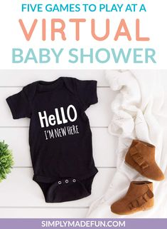 Are you throwing a virtual baby shower for a mommy-to-be? We have tips on how to set it up to have family from all over attend and what games to play to get everyone involved! See what our favorite games for groups to play are on the blog. | simplymadefun.com Diy Baby Gifts, Baby Girl Gifts, Baby Shower Gifts, Diy Party Hats, Diy Party Decorations, Outdoor Party Games, Baby Cooking, Virtual Baby Shower, Newborn Babies