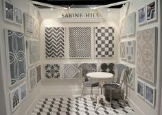 Sabine Hill boasts modern and organic designs infused with the traditional process of creating cement tile. Showroom Interior Design, Tile Showroom, Bathroom Showrooms, Bathrooms, Room Tiles, Wall Tile, Cement Crafts, Booth Design, Commercial Design