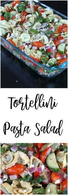 Tortellini Pasta Salad Looking for the perfect dish for a pot luck that doesn't require a lot of time in the kitchen? Bring this crowd-pleasing tortellini pasta salad. Healthy Pasta Salad, Healthy Pastas, Pasta Salad Recipes, Healthy Recipes, Vegan Pasta, Salads For A Crowd, Appetizers For A Crowd, Food For A Crowd, Potluck Dishes