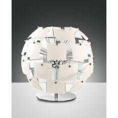 Fabas Luce Urania Tischleuchte G9 verchromt, Glas weiß Retro Vintage, Lighting, Design, Home Decor, Products, Floor Lamps, Ceiling Lamp, Glass, Decoration Home