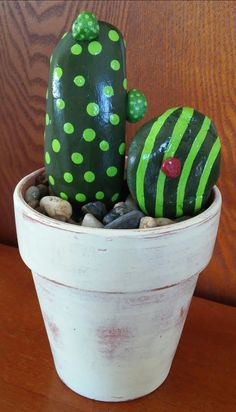 Hand painted Rock Art - CACTUS Rocks with hand painted 5 inch Terracotta Pot (FREE SHIPPING)