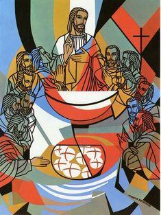 Institution of the blessed Eucharist _ Virginia Broderick 1971 Jesus Christ Painting, Jesus Art, Religious Images, Religious Art, Jesus Drawings, Biblical Art, Jesus Pictures, Catholic Art, Sacred Art