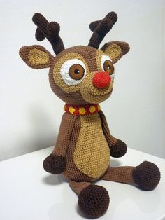 Crochet Reindeer Pattern Amigurumi Christmas Toy PDF Cute Brown Animal Stuffed Toy With Collar And Bells Inspiration