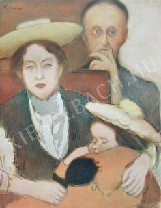 Rippl-Rónai József - Rippli néni a gyerekekkel festménye