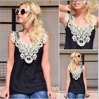 Women Fashion Lace Top And Small Vest