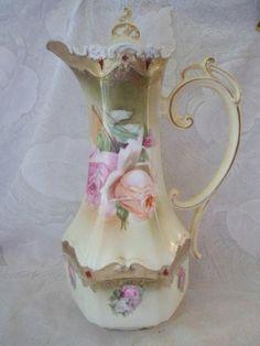 Antique Porcelain Chocolate Pot R. Tea Pot Set, Pot Sets, Chocolate Pots, Chocolate Coffee, Vintage Coffee, Vintage Tea, Tea Cup Saucer, Tea Cups, Teapots And Cups