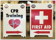 Usually a good idea to let people know where the first aid station is at an event. I would imagine these big A-Boards will do the trick