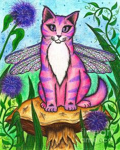 Dea Dragonfly Fairy Cat - Fine Art America Pixels, Carrie-Hawks.Pixels.com   Copyright - Carrie Hawks, Tigerpixie Fantasy Cat Art. More Prints, Jewelry & Gift Items featuring this image are available on my website - Tigerpixie.com