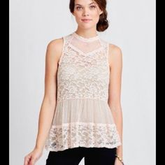 Cecico Ivory Lace Top. High Neck. Small. Buttons This is a great Lady Luck top. A creamy peach Ivory color. Size small. from Shop Ruche. Worn only once. Cecico Tops Blouses
