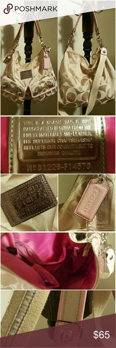 """Coach Poppy Handbag Gorgeous Coach Poppy. Khaki and light pink. Only carried a few times, in great condition! 12""""x11"""". The only flaws are shown in the fourth picture. The back of the button pictured was actually like that when I bought it, I just didn't notice until after the fact. I've always intended to take it to the Coach store to get it fixed but never did. Coach Bags Shoulder Bags"""