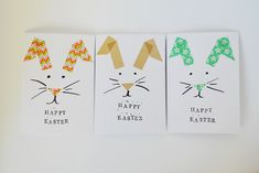 A super easy, fast washi tape Easter card with a bunny on the front!  So simple, but so endearing!  — Crafthubs