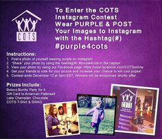 "COTS Instagram Contest! Help raise awareness during National Hunger and Homelessness Awareness Week by wearing PURPLE for COTS! Mark your photos on instagram with hastag #purple4cots to enter for cool prizes! Then visit the COTS ""Instagram Contest"" tab for more info and to vote for your favorite pictures! https://www.facebook.com/COTSonline/app_341908712540542"