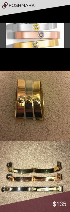 Lot of 3 Henri Bendel Bangle Bracelet's Lot of 3 Henri Bendel Bangle Bracelet's 1 gold bangle 1 silver bangle 1 rose gold bangle = 3 total worn a few times henri bendel Jewelry Bracelets
