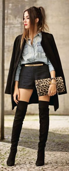 Black, Denim And Leo Casual Style by Fashion Coolture