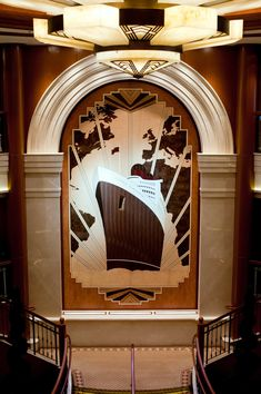 Art Deco wood inlays from Cunard's Queen Elizabeth