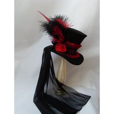 Victorian Lady's Hat Midi Mini top Hat with black and red tulle model... (135…