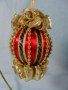 Red & Gold & Green Handmade Christmas Tree Ornament Gold Bows & Beads (sold)