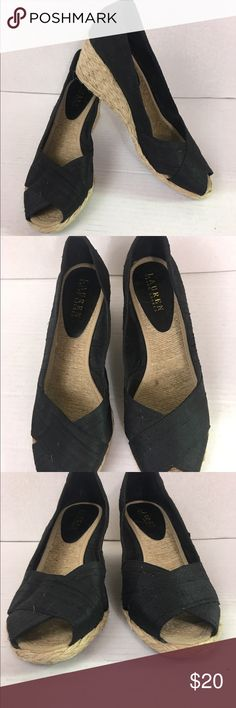 Ralph Lauren Cecelia black espadrilles sz 8.5B Walk to the tune of totally pretty in this Cecilia wedge from Lauren by Ralph Lauren. It has a shantung silk upper with a gorgeous braided espadrille wedged heel that will lend a breezy and beautiful feel to your more-than-just-casual looks. 2.5-in. heel Fabric Import Lauren Ralph Lauren Shoes Espadrilles
