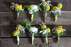 Yellow and white buttonholes