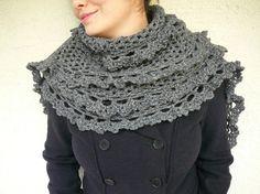 Dark Grey Shawl With Lace