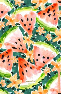YUMMER SUMMER Watercolor Watermelons