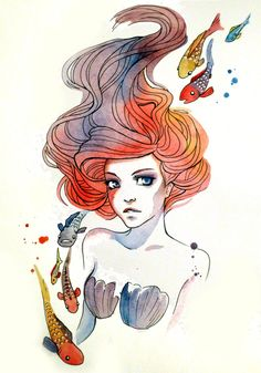 """""""Under the Sea,"""" by Never Bird Designs. I wouldn't get Ariel inked, but I do love the drawing style and colours."""