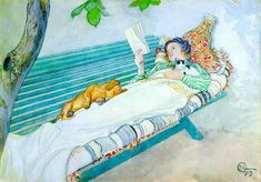 The Athenaeum - Woman Lying on a Bench Carl Larsson (1913)