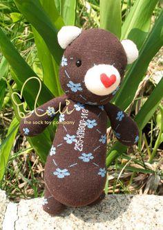 Mali Sock Doll Bear Sweet Heart Floret by malidolls on Etsy, $39.95