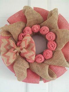 Burlap Wreath, Valentine Wreath, Valentine Burlap Wreath with Chevron Print Bow, Valentines Decor, Front Door Wreath