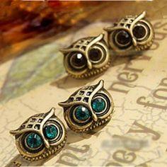 Vintage Jewelry Set Auger Cute Owl Shape Ladies' Stud Earrings