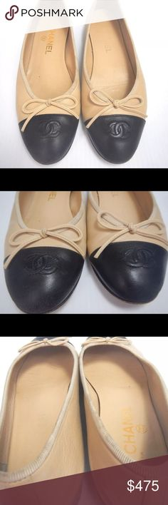 Chanel Beige Black Cap Toe ballet flats 38 Good condition. Please review pictures. There are minor signs of wear but overall they look really good. No flaws to note. Size 38. Less with ppl CHANEL Shoes Flats & Loafers