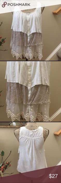 """💜💜Free People variegated fabrics💕 BOHO blouse 💜💜Free People variegated fabrics💕 BOHO blouse. This top is so lovely with 3 different layers of fabric for a true FP BOHO look and feel. Simply lovely and feminine!! Preloved in excellent condition. Pit to pit measurement is 19"""". Length is 23"""" at the longest point of crochet. Free People Tops Blouses"""