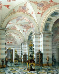 Watercolor by KA Ukhtomsky of Winter Palace, Smolny. ~ Incredible ornamental ceiling and space.