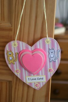 Cat Notepad  Hanging Heart Notepad Holder  by CraftyMushroomCards