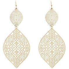 Charlotte Russe Etched Filigree Drop Earrings ($6)  liked on Polyvore featuring