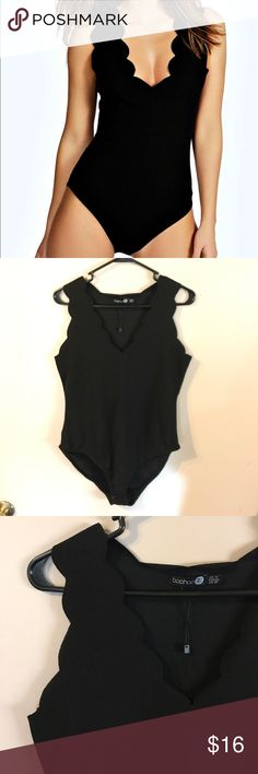 "black scalloped bodysuit awesome bodysuit. tried on but never worn. size 10, I would say it accurately fits an 8 or a 10. it is also marked a ""tall"" but I am tall and it's too short in the body for me. Boohoo Tops Tank Tops"