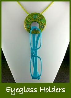 Eyeglass holders as jewelry - made with polymer clay by 2goodclaymates