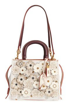 COACH 1941 Rogue Tea Rose Appliqué Leather Crossbody Bag available at #Nordstrom