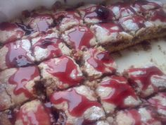 Chocolate cake with marshmallow & cherry jam