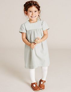 Girls Cotton Party Dress (3 Months - 5 Years) | M&S